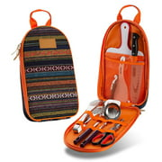 Camp Kitchen Utensil Organizer Travel Set, Portable BBQ Camping Cookware Utensils Travel Kit, Perfect for Sporting Events, Hiking, Boat Rides and Other Outdoor Activities ORANGE