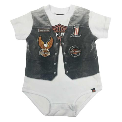 SGI Harley - Davidson 18 Months Baby Boys' Printed Biker Vest Infant Creeper (18M) 3060629