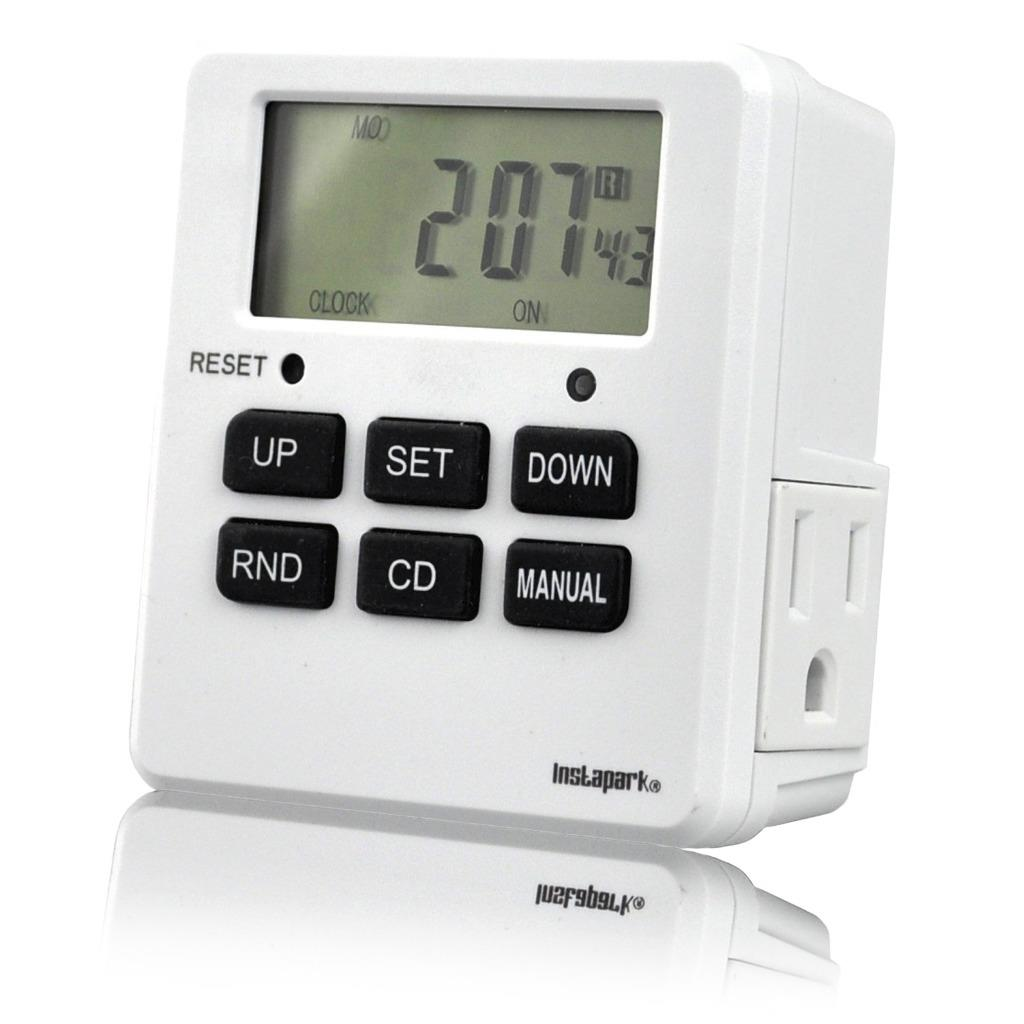 Digital Programmable Timer TUE-19 with 7 Day, Dual Outlet, 3 Prong socket plug in for Heavy Duty, Indoor Use |... by Instapark
