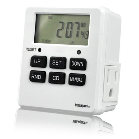Digital Programmable Timer TUE-19 with 7 Day, Dual Outlet, 3 Prong socket plug in for Heavy Duty, Indoor Use | 1 Pack | - Electrical Plug Timer