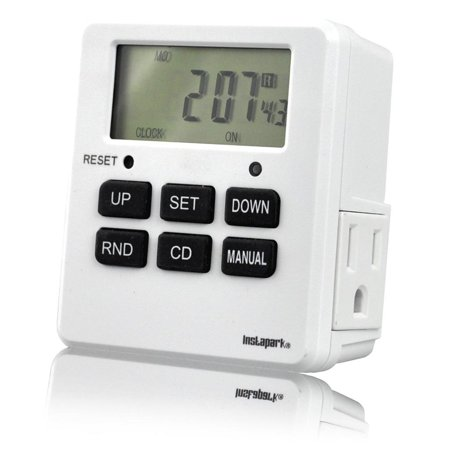 Digital Programmable Timer TUE-19 with 7 Day, Dual Outlet, 3 Prong socket plug in for Heavy Duty, Indoor Use | 1 Pack | Instapark®