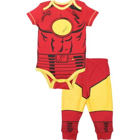 Marvel Bodysuit (Marvel Avengers Baby Boys' Bodysuit & Pants Clothing Set, Iron-Man)