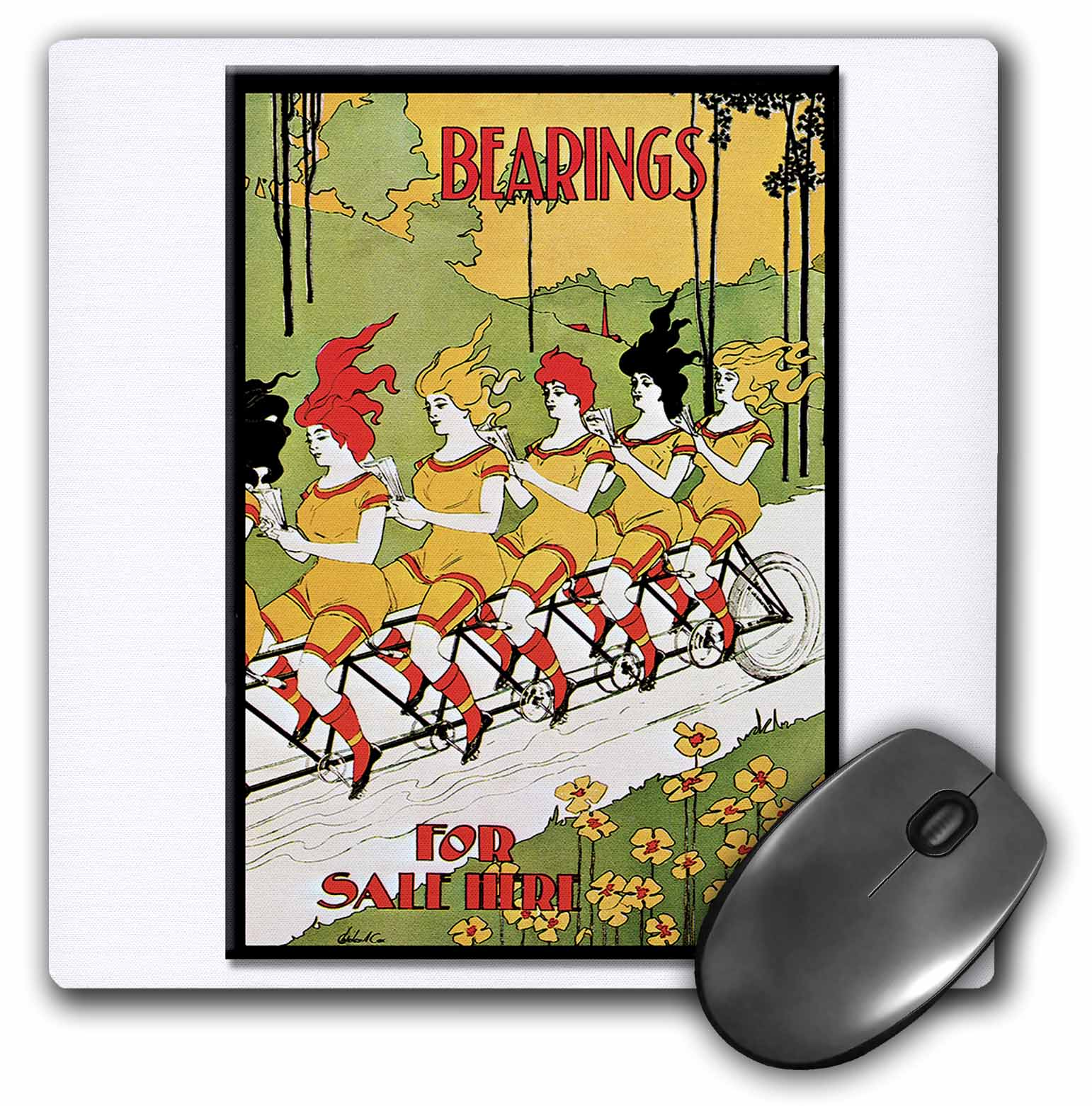 3dRose Vintage Art Nouveau Bearings for Sale Here Women on Tandem Bike Poster, Mouse Pad, 8 by 8 inches