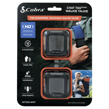 Cobra Chat Tag Rock Wearable, Hands Free Walkie Talkies - Two-Way Radios 2-Pack (Act220WMT)