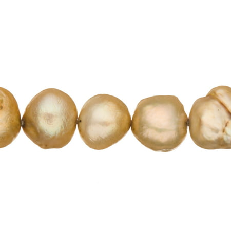 Cream Brown Freshwater Cultured Pearls Natural Half Potato, C+ Graded, 7x6x8mm (Approx.), 15.5Inch Strings/60Pearls