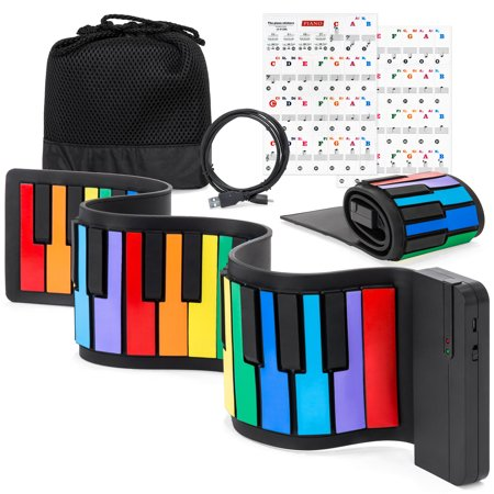 Best Choice Products Kids 49-Key Portable Flexible Roll-Up Piano Keyboard Toy w/ Learn-To-Play App Game, Bluetooth Pairing, Note Labels (Best Messaging App For Kids)
