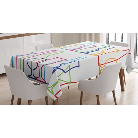 Wine Tablecloth, Colorful Outline Bottles and Glasses Bar Party Drink Cocktails Modern Fun Collection, Rectangular Table Cover for Dining Room Kitchen, 60 X 90 Inches, Multicolor, by Ambesonne