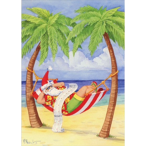 Tropical Christmas.Lpg Greetings Santa In Hammock On Beach Paul Brent Tropical Christmas Card