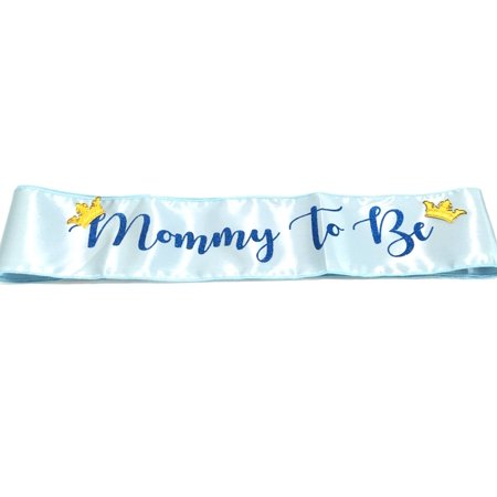 Blue Baby Shower Mommy to Be Gold Crown Sash Party Favor
