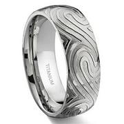 Titanium Kay 7 Degree Ocean Swirls Pattern Titanium Comfort Fit Wedding Band Ring Sz 10.0