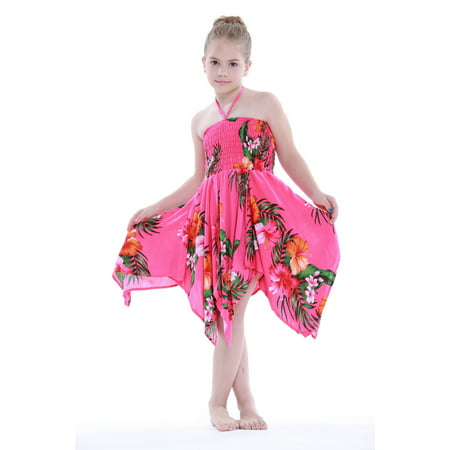 Girl Gypsy Uneven Button Hawaiian Luau Dress in Hot Pink Floral 8 for $<!---->