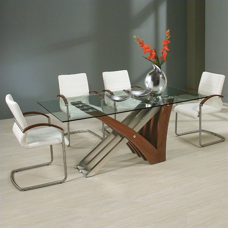 Pastel Furniture Akasha 5 Piece Dining Room Set in Ivory Walnut by Pastel Furniture