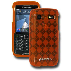 Premium Designer Luxe Argyle Skin Case for Blackberry Pearl 9105, Blackberry Pearl 9100 - Orange