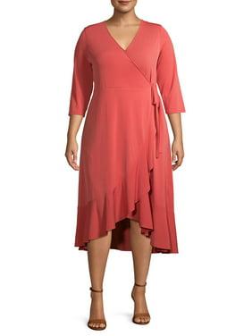 Terra & Sky Women's Plus Size Solid Wrap Dress with Ruffle Detail