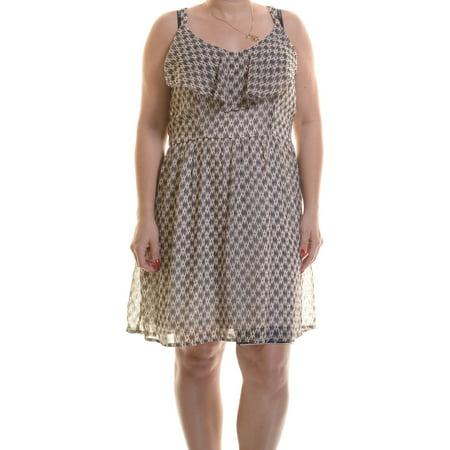 Bar III Women's Sleeveless Printed Ruffled Dress Antique Withe Combo Size XL](Antique Dress)