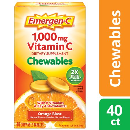 Joint Rescue Chewable - Emergen-C Vitamin C Chewables, Orange Blast, 1000mg, 40 Ct