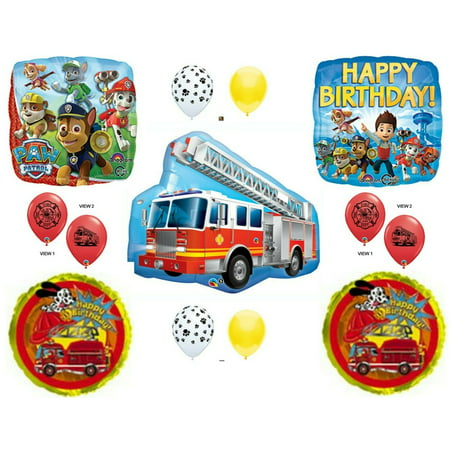 PAW PATROL MARSHALL Fire Truck Birthday Balloons Decoration Supplies Party - Fire Truck Birthday Supplies