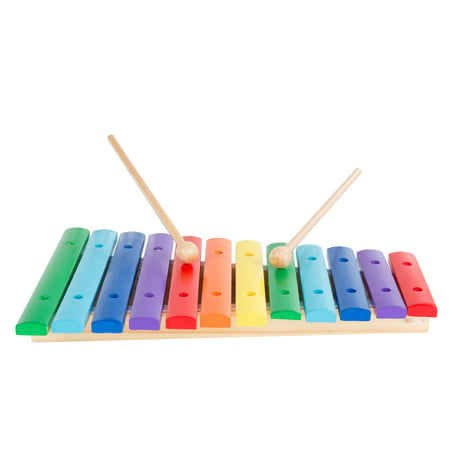 Kids Wooden Xylophone – Rainbow Toy Percussion Instrument with Two Mallets for Fun Play, Early Childhood Development, Education by Hey!