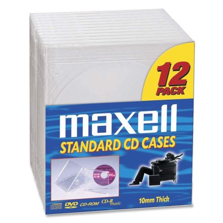 Maxell CD/DVD Clear Plastic Jewel Cases CD-360 - 12 CD/DVD