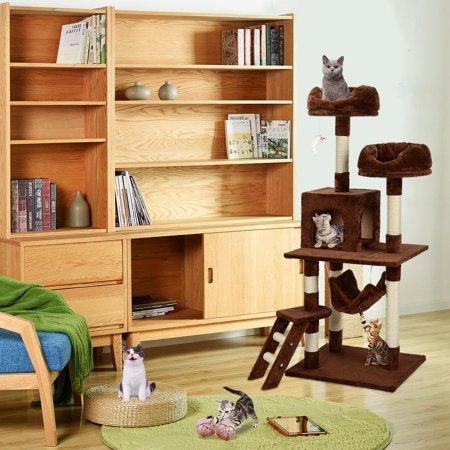 """57"""" Deluxe Cat Scratching Tree Kitten Condo Play House Furniture with Hammock , Brown - image 2 of 7"""
