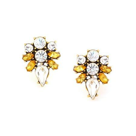 Burnish Gold-Plated Crystal/Colorado Topaz Stone Button Earrings Crystal Gold Button Earrings