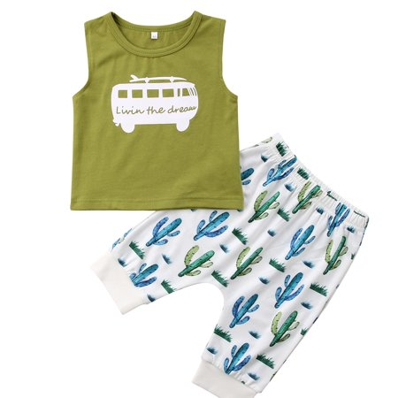 2PCS Toddler Baby Boys Sleeveless Tank Top With Cactus Pant Outfits](Cactus Outfit)