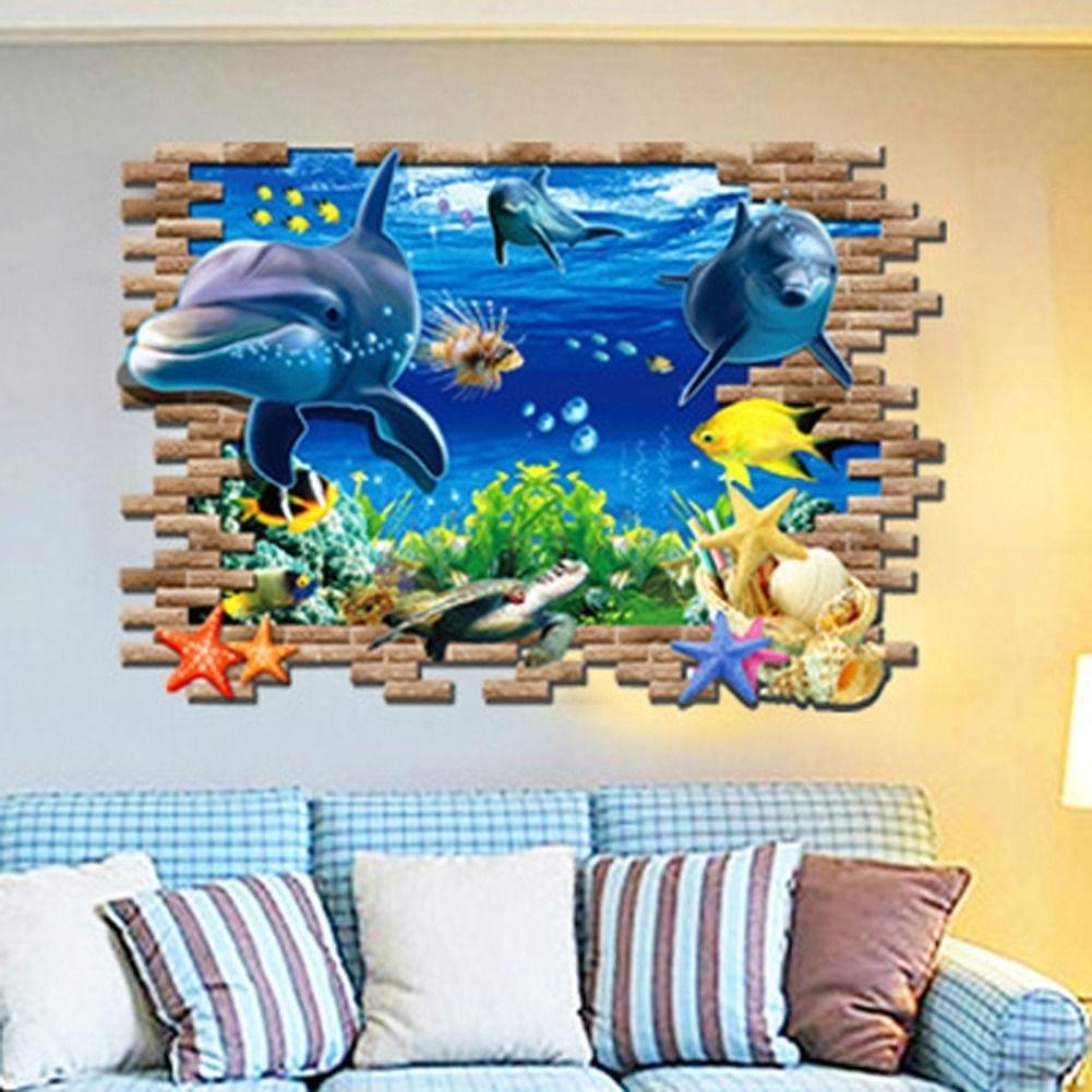 room sticker art Dolphin Wall vinyl DECAL- fish ocean sea Animal interior design home and business decor