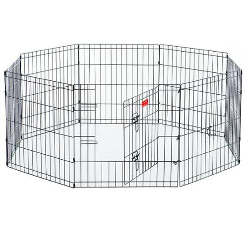 "Lucky Dog Black Metal Pet Exercise Pen with Stakes 36""H, Black"