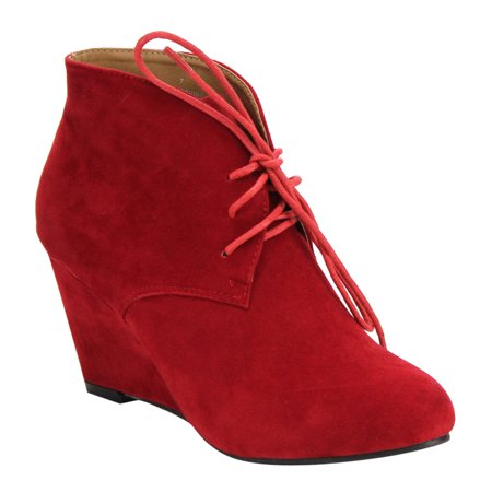 Beston De06 Womens Lace Up Wrapped Heel Ankle Wedge Booties Run One Size Small