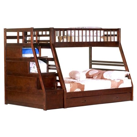 Twin Over Full Espresso Staircase Bunk Bed Walmart Com