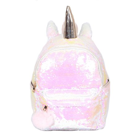 Womens Sequins All Flashy Unicorn Zipper Closure Bag Fashion Backpack PP6-White (PP6759) for $<!---->