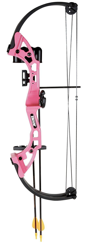 Youth Archery Bow, Pink Bear Archery Brave Girls Boys Beginner Compound Bow Set by Bear Archery