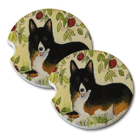 KuzmarK Sandstone Car Drink Coaster (set of 2) - Black and Tan Welsh Corgi Under the Apple Tree Dog Art by Denise Every