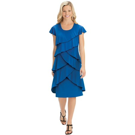 Ruffle Front Cap - Women's Tiered Ruffle Front Cap Sleeve Knee Length Knit Dress, Large, Royal Blue