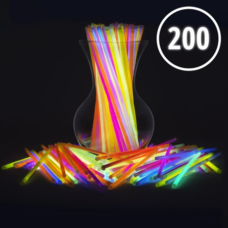 Glow Sticks Bulk 200 Count - 8' PartySticks Premium Light Sticks - Great Party Favors for Camping, Raves, Glow In The Dark and Star Wars Parties (2 Tubes of 100)