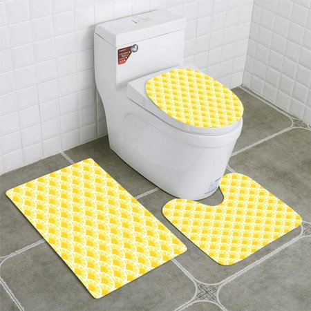 EREHome Seamless 3 Piece Bathroom Rugs Set Bath Rug Contour Mat and Toilet Lid Cover - image 1 of 2