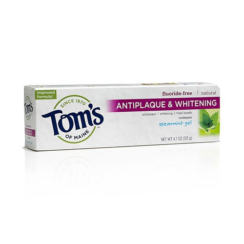 Tom's Of Maine Anti-Plaque And Whitening Toothpaste Spearmint Gel, 4.7 Oz