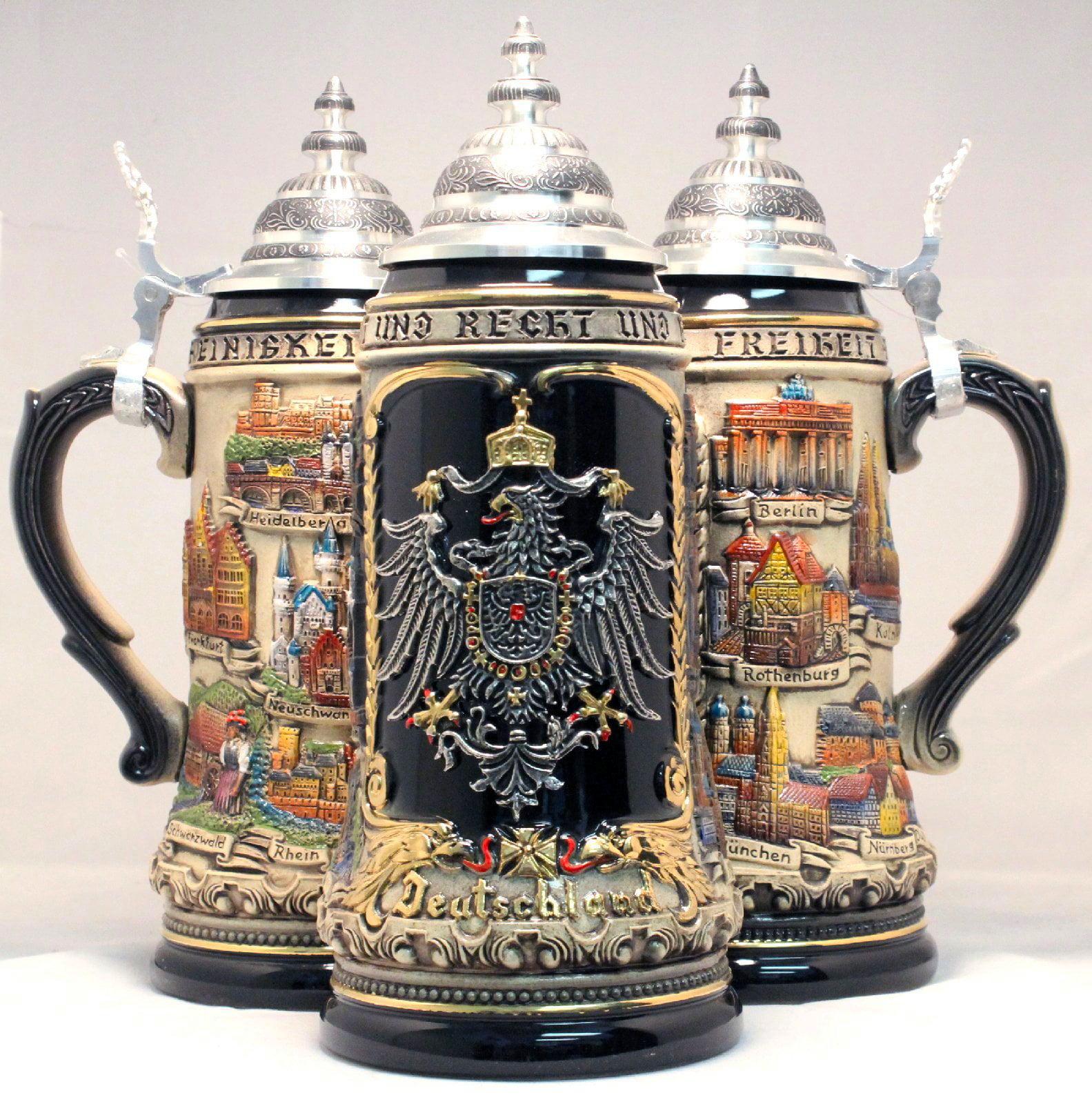 German Black Beer Stein .5L Pewter Eagle Crest One New Mug Made in Germany