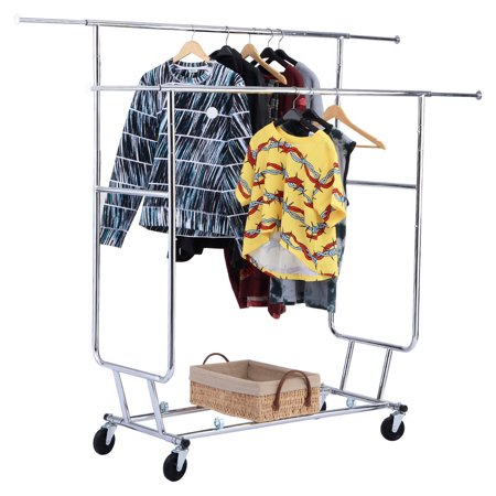 Costway Commercial Grade Collapsible Clothing Rolling Double Garment Rack Hanger Holder