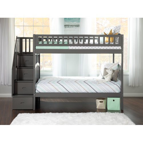 Harriet Bee Simmons Staircase Bunk Twin over Twin Bed