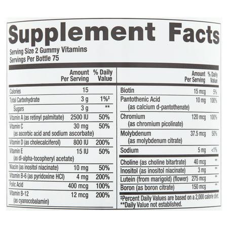 Equate Multivitamins Assorted Fruit Flavors Adult Gummies, 150 Count