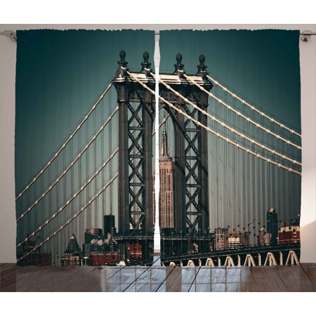 Bridge 2 Light (Scenery Decor Curtains 2 Panels Set, City Lights Landscape View with Bridge Empire State Building Skyscrapes Picture, Window Drapes for Living Room Bedroom, 108W X 84L Inches, Black, by Ambesonne)