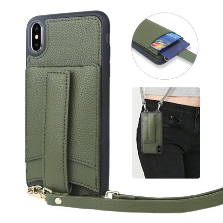 TJS Compatible for Apple iPhone Xs Max Crossbody PU Leather Wallet, with [Tempered Glass Screen Protector] Fashionable Case with Long and Short Wrist Straps for Women Girl (OD Green)