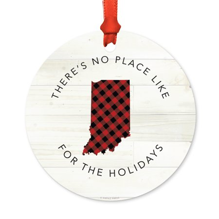 Us State Round Metal Christmas Ornament  Red Plaid On Light Rustic Wood  Indiana  Includes Ribbon And Gift Bag