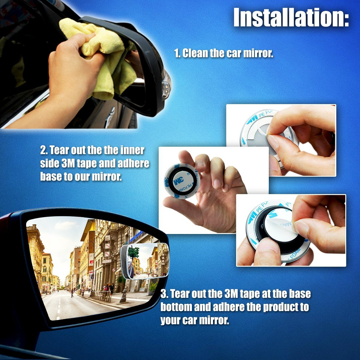 Zone Tech Blind Spot Adjustable Square Mirrors - 2-Pack Square Blind Spot Mirror Adjustable Stick-On Exterior Side Mirror for All Cars Motorcycles Trucks Snowmobiles - image 1 of 5