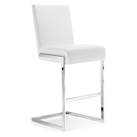 Baxton Studio Toulan Modern and Contemporary White Faux Leather Upholstered Stainless Steel Barstool