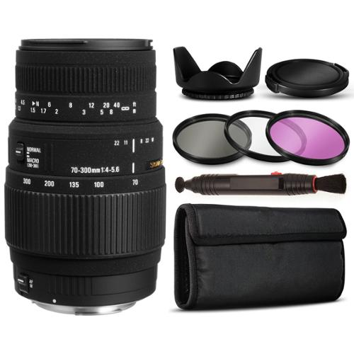 Sigma 70-300mm f/4-5.6 DG Autofocus Lens for Nikon 5A9306 with Basic Accessories Bundle Package includes 3 Piece Filter Kit (UV-CPL-FLD) + Flower Tulip Hood + $50 Gift Card for Prints