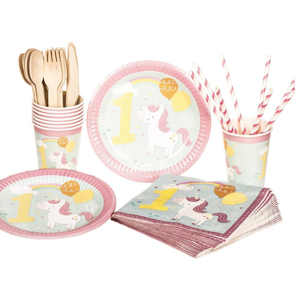 1st Unicorn Birthday Party Tableware Set Party Set Supplies for 8Paper Plates  sc 1 st  Walmart & 1st Unicorn Birthday Party Tableware Set Party Set Supplies for 8 ...