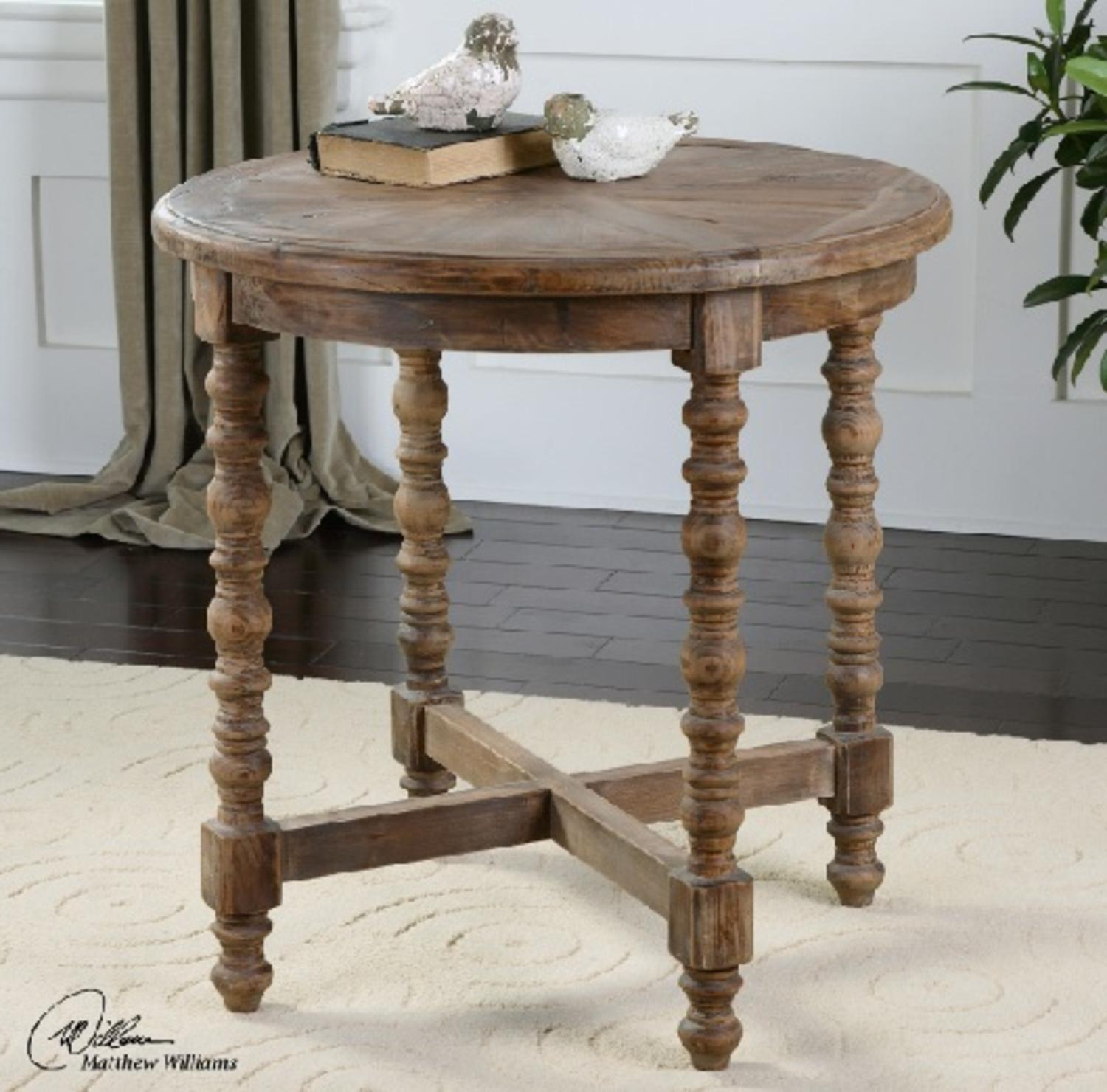 "26"" Sunburst Eco-Friendly Distressed Recycled Fir Circular Wooden End Table"