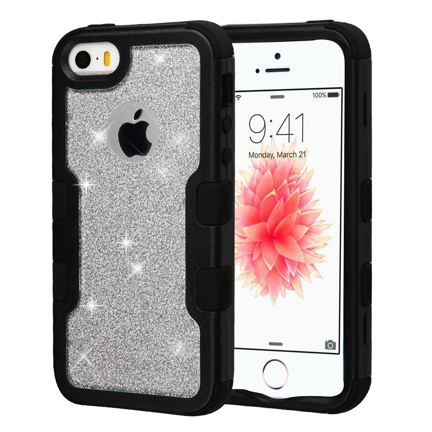 iPhone SE Case, iPhone 5S Case, by Insten Tuff Dual Layer [Shock Absorbing] Hybrid Glitter Hard Plastic/Soft Silicone Case Cover For Apple iPhone 5/5S/SE, Black/Silver
